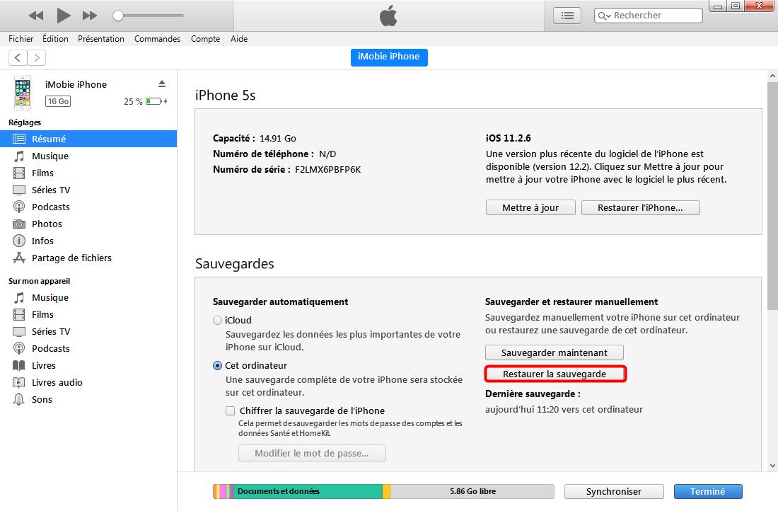 Comment transférer les messages iPhone vers PC -étape 1