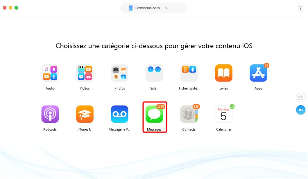 Moyen de sauvegarder les SMS iPhone sur PC -étape 2
