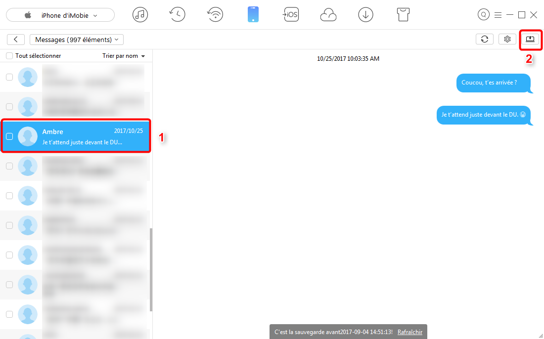 Comment sauvegarder les messages d'iPhone sur PC - étape 3