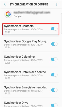 Sauvegarder ses contacts Android via Gmail - étape 3