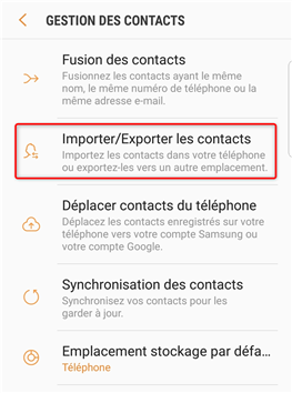 Importer/Exporter les contacts - 1