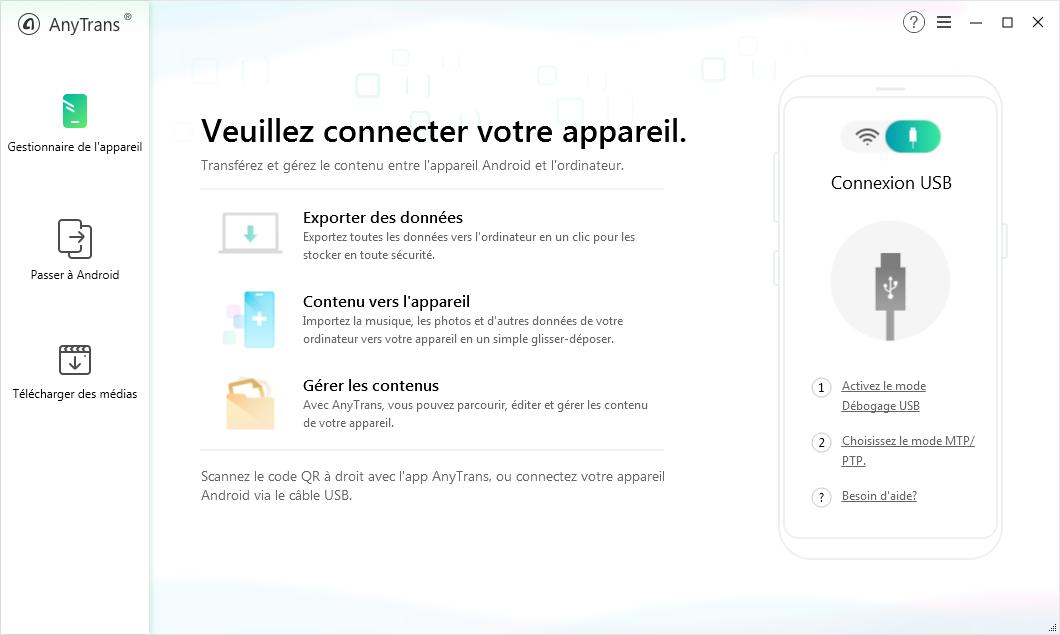 Connecter votre Samsung à PC/Mac via un câble ou Wi-Fi - Étape 1