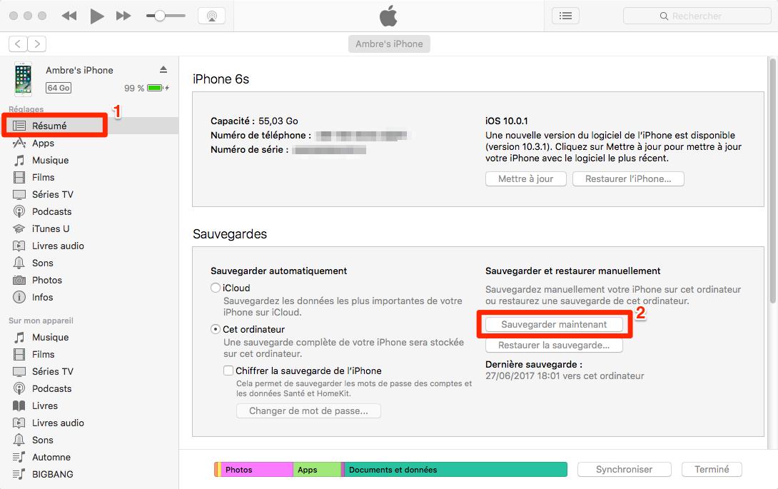 Comment sauvegarder ancien iPhone sur iTunes