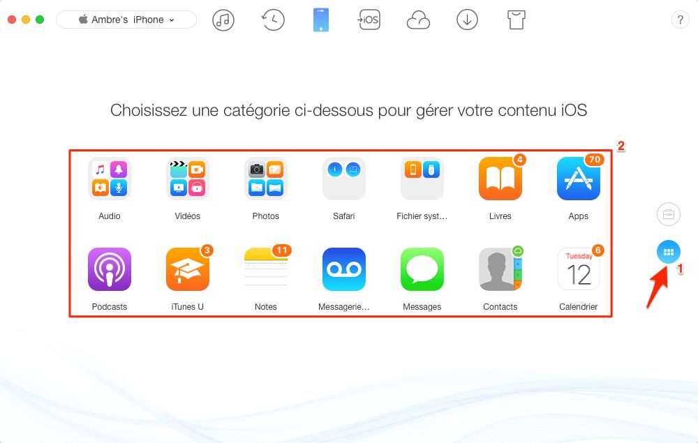 Comment sauvegarder des données iPhone sélectivement – étape 1