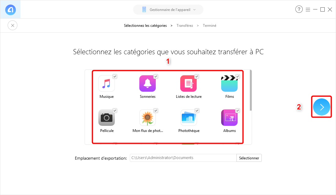Changement Iphone Transfert Donnees