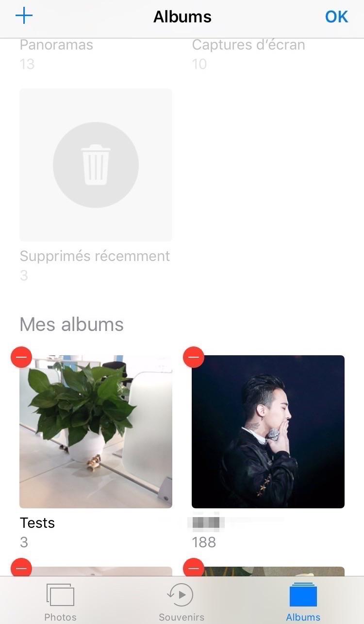 Supprimer album photo sur iPhone