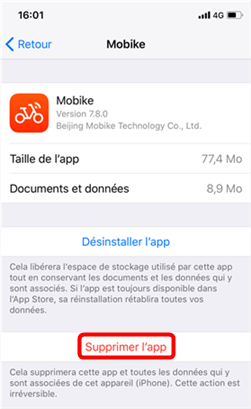 Supprimer une application sur iPhone à fond
