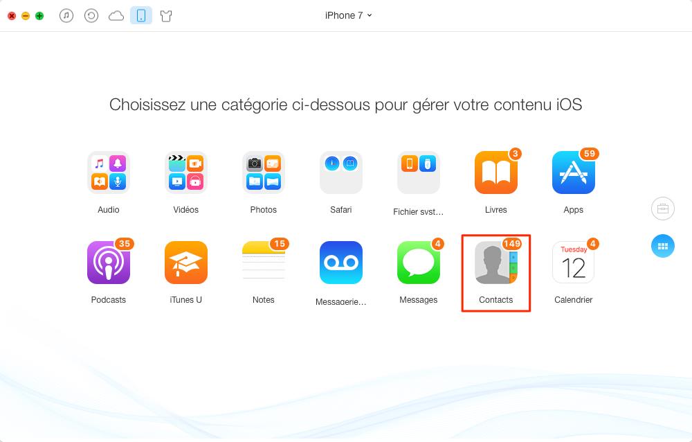 Comment supprimer les contacts iPhone 7 (Plus) – étape 2