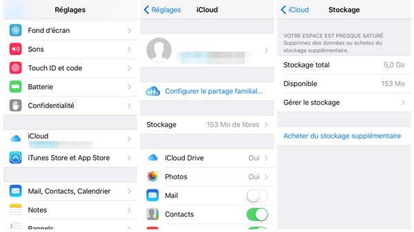 Supprimer les sauvegardes iCloud sur l'appareil iOS – étape 1