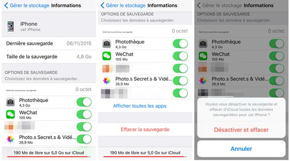 Supprimer les sauvegardes iCloud sur l'appareil iOS – étape 2