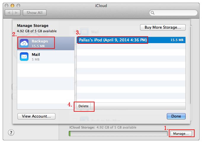 Supprimer la Sauvegarde iCloud sur l'ordinateur et sur l'Appareil Ios 1