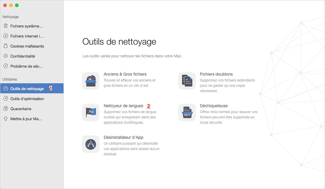Comment supprimer des fichiers de langues sur Mac avec MacClean - étape 1
