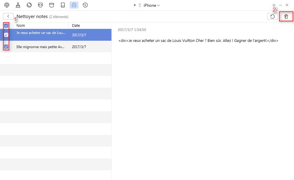 Supprimez les notes périmées iPhone avec l'aide de PhoneClean - étape 3