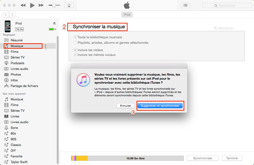 Enlever de la musique sur iTunes – étape 2