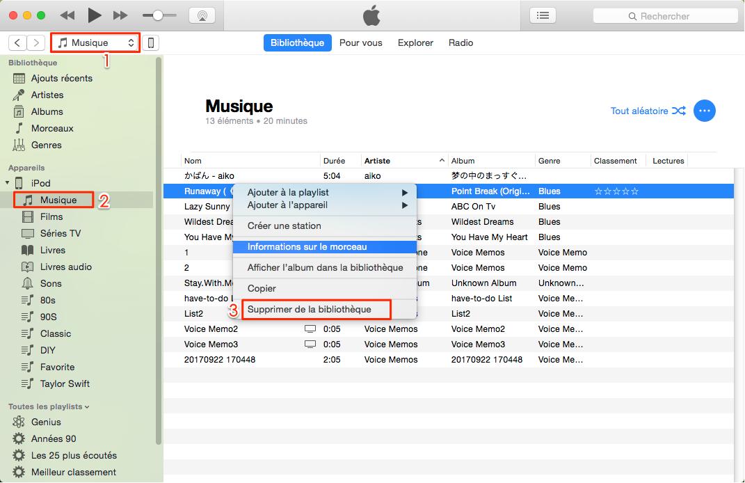 Supprimer de la musique avec iTunes – étape 1