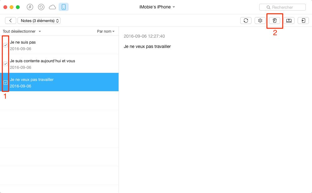 Comment supprimer les notes inutiles sur iPhone 7 – étape 3