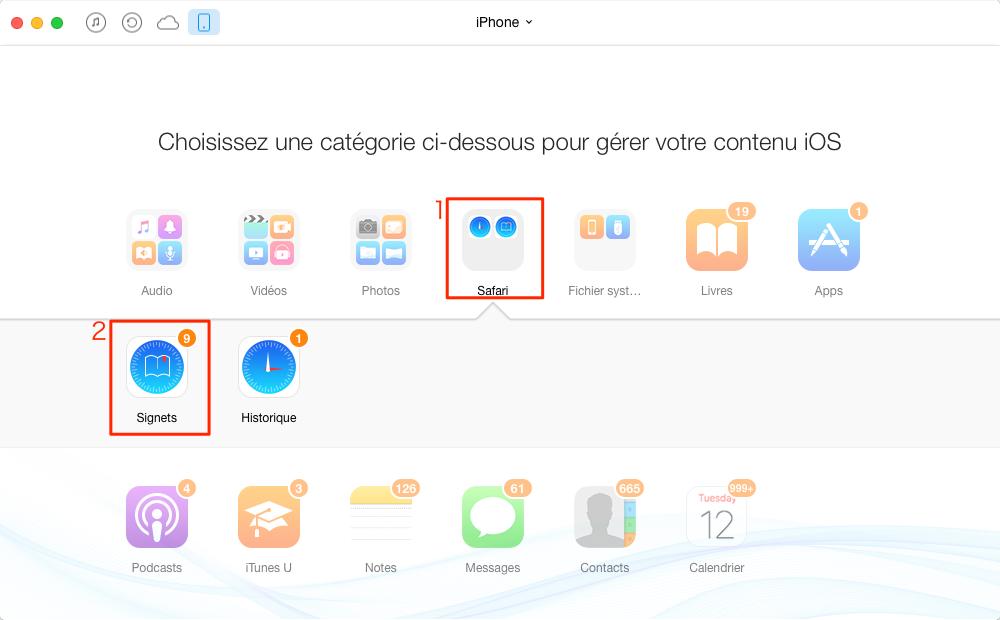 Supprimer les signets sur iPhone avec AnyTrans - étape 2