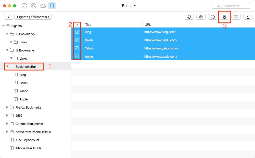 Supprimer les signets sur iPhone avec AnyTrans – étape 3