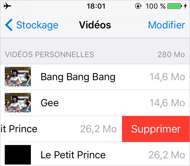 Supprimer des Vidéos depuis l'App Paramètre sur iPhone - Méthode 3