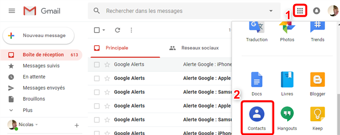 Transfert des contacts iPhone vers Gmail - étape 4