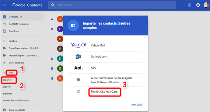 Synchronisation des contacts iPhone vers Gmail - étape 5