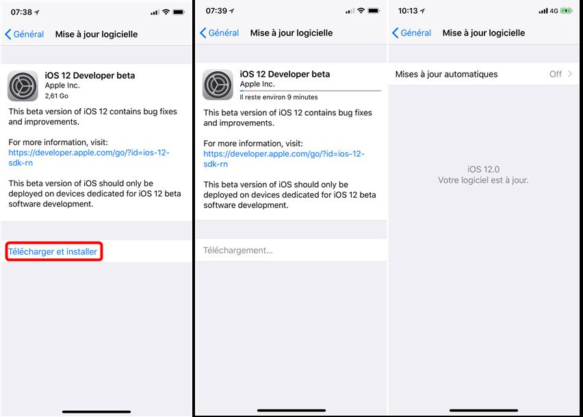 Comment mettre à jour iPhone à iOS 12 bêta