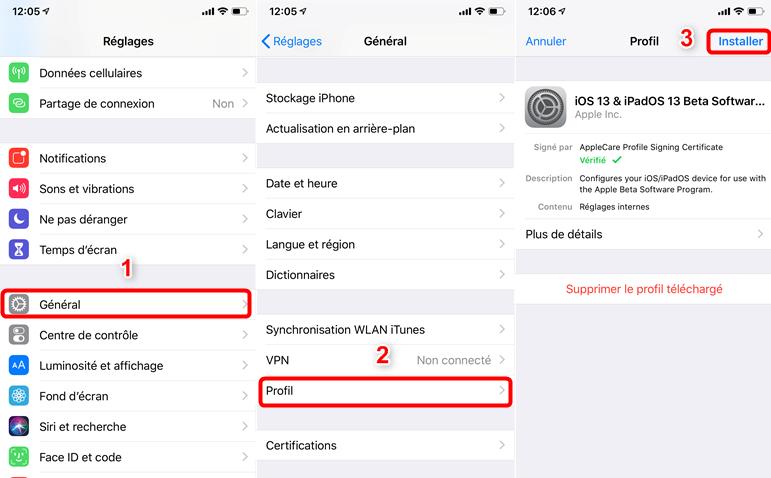 Trouvez et installer le profil de configuration iOS 13