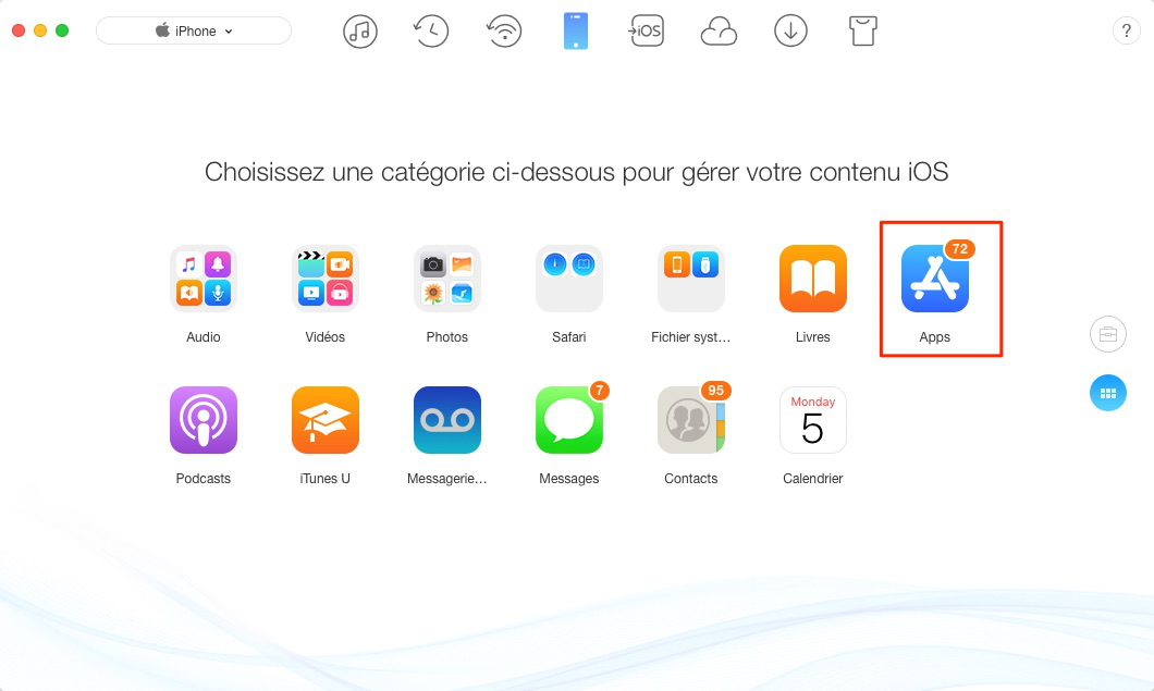 Sauvegarder applications iPhone sur iTunes - étape 2