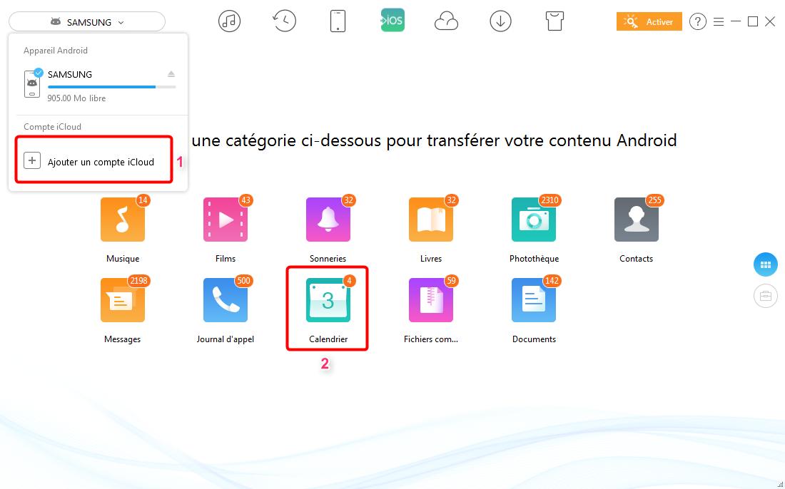 Comment transférer les calendriers d'Android vers iCloud- étape 2