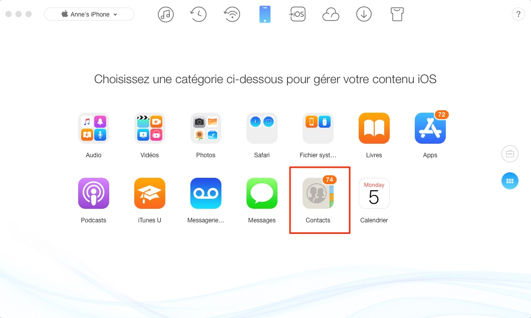 Comment synchroniser les contacts Mac vers iPhone - étape 2