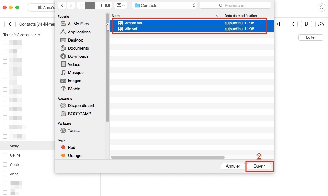 Transfert de contacts Mac vers iPhone - étape 4