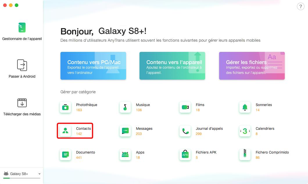 Comment copier vos contacts Samsung vers Mac sélectivement – étape 2