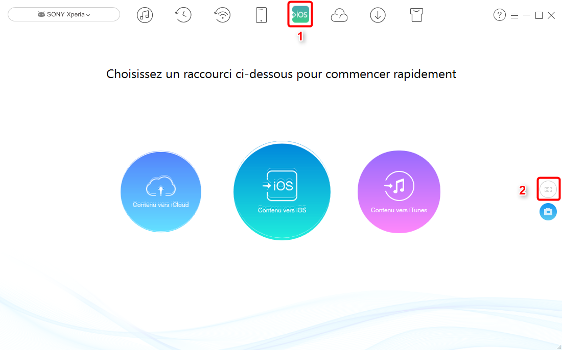 Transférer rapidement les contacts Sony Xperia vers iPhone X/8 - étape 1