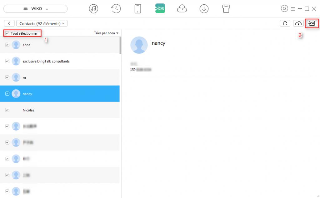 Transférer les contacts Wiko vers iPhone 7 – étape 3