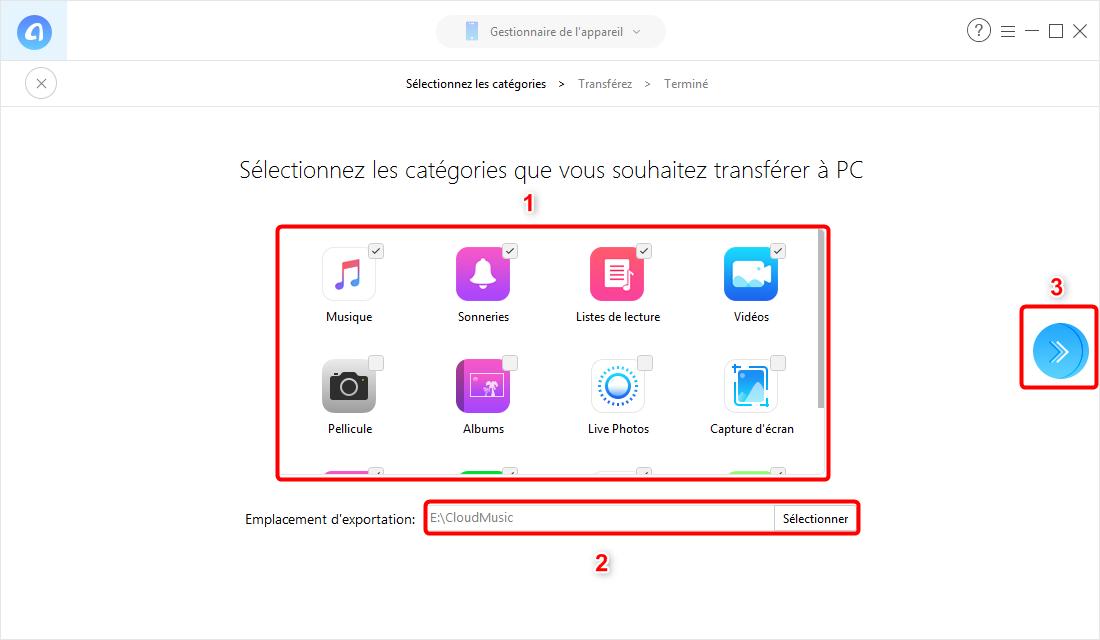 Transfert des Multimédias d'un iPhone vers un PC- étape 3