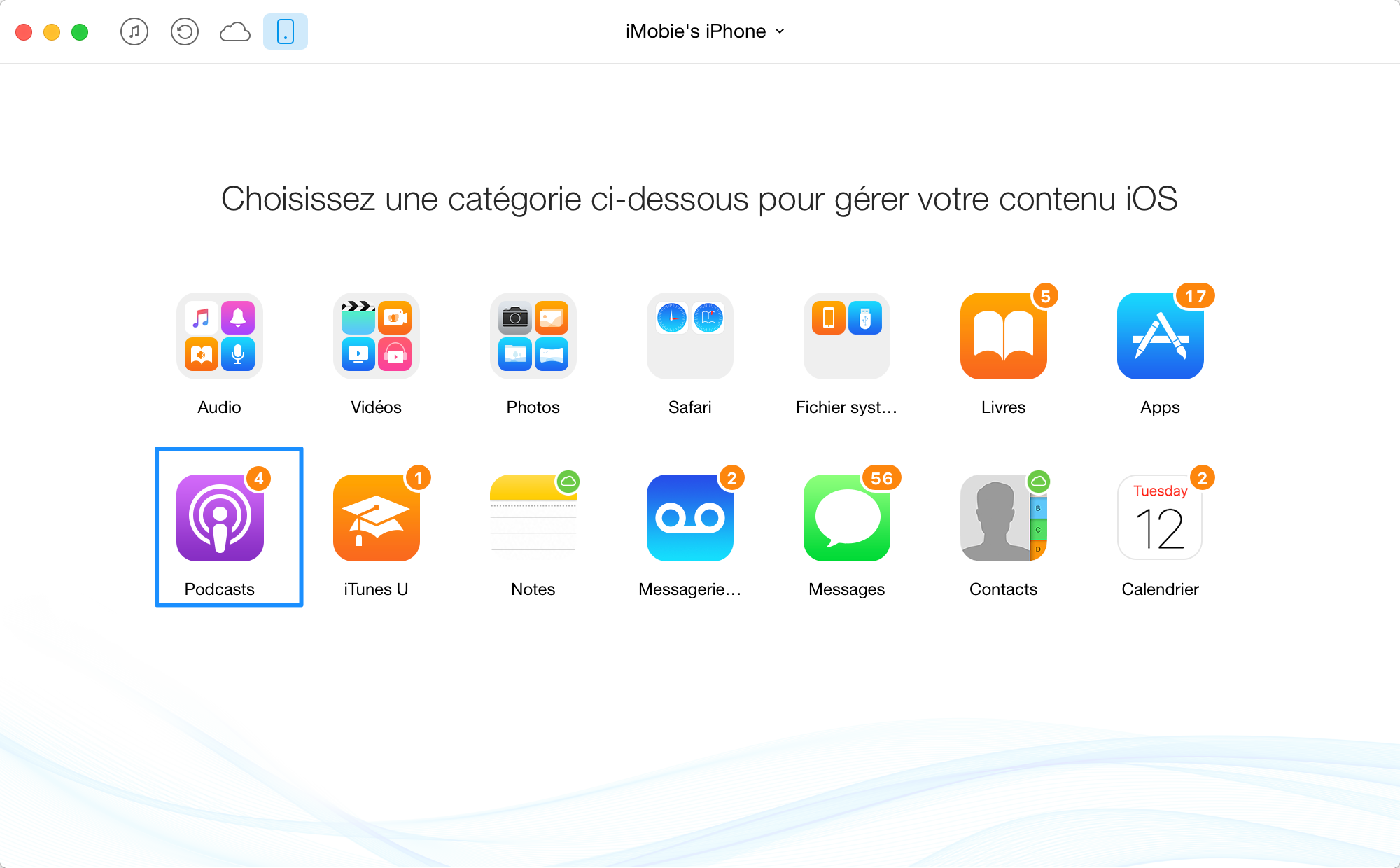 Transfert Podcasts d'iPad / iPhone à iTunes - étape 2