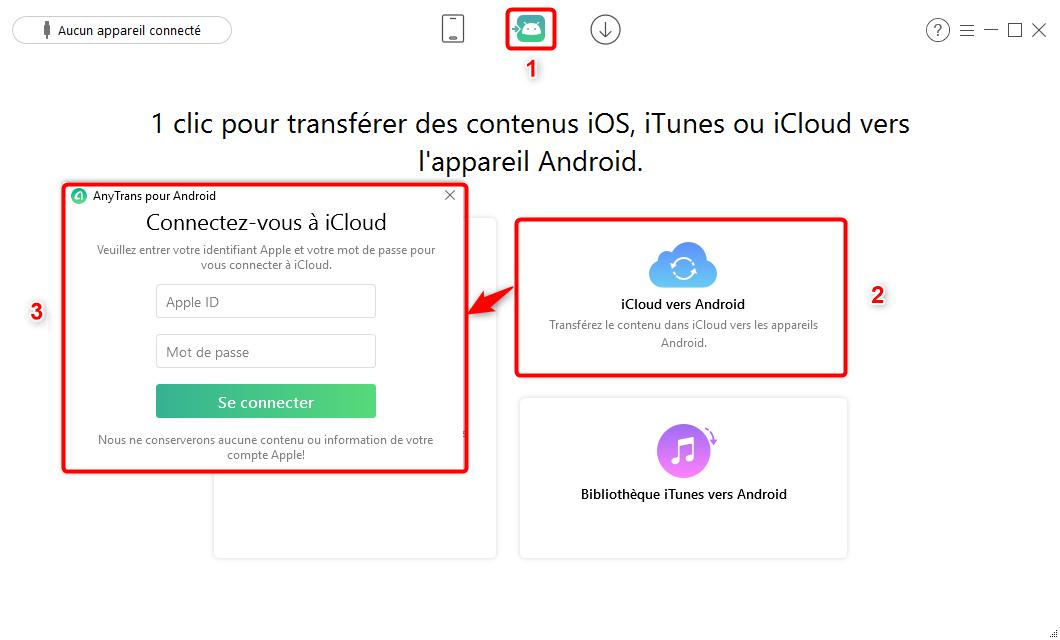 AnyTrans pour Android – Connectez-vous à iCloud