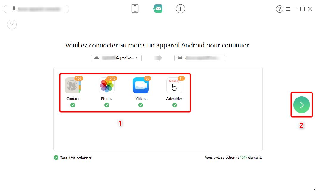 AnyTrans pour Android – Choisissez vos données