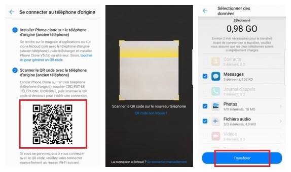 Transfert des données iPhone vers Huawei P40