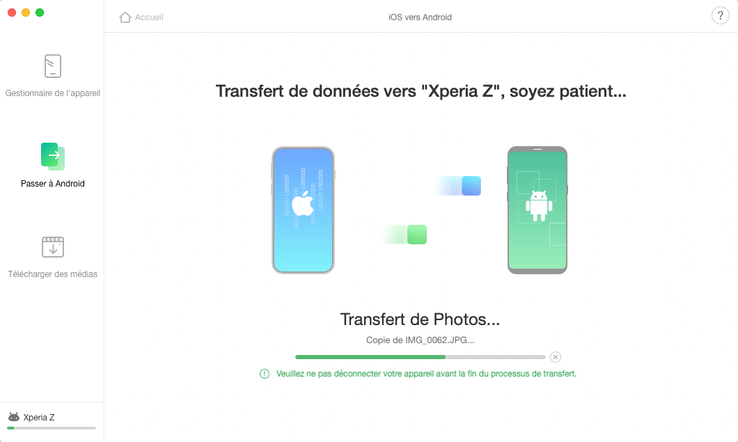 Transfert des fichiers d'iOS vers Android