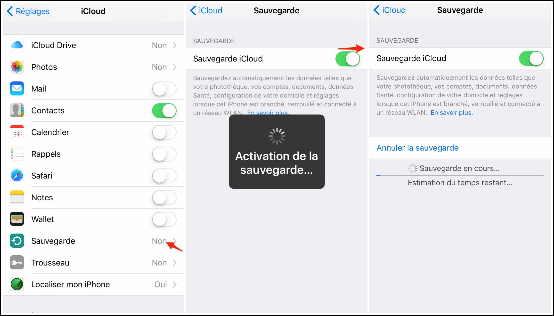 sauvegarder donnees iphone icloud
