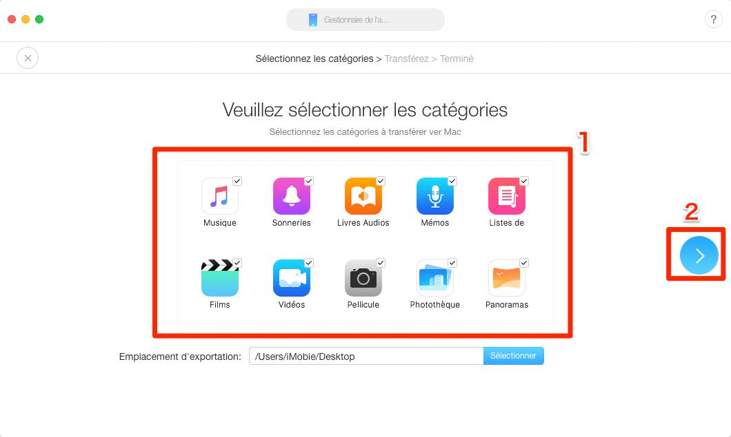 Transférer des données d'un iPhone vers le nouveau Mac - Étape 2