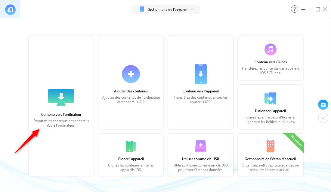 Transférer des données iPhone vers le nouvel ordinateur PC via AnyTrans pour iOS - Étape 2