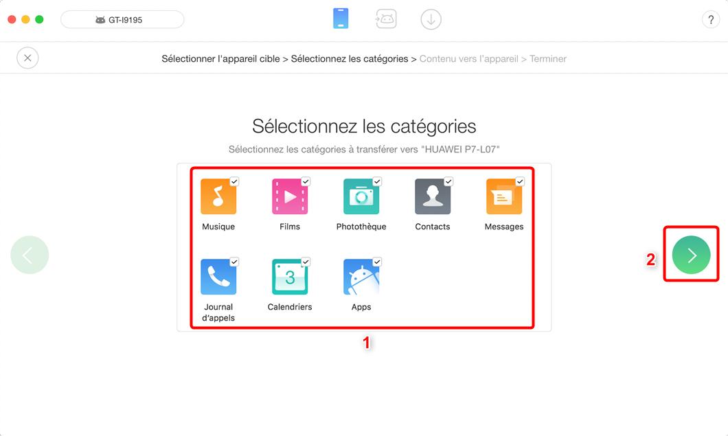 Comment transférer les fichiers depuis Samsung vers HUAWEI étape 2