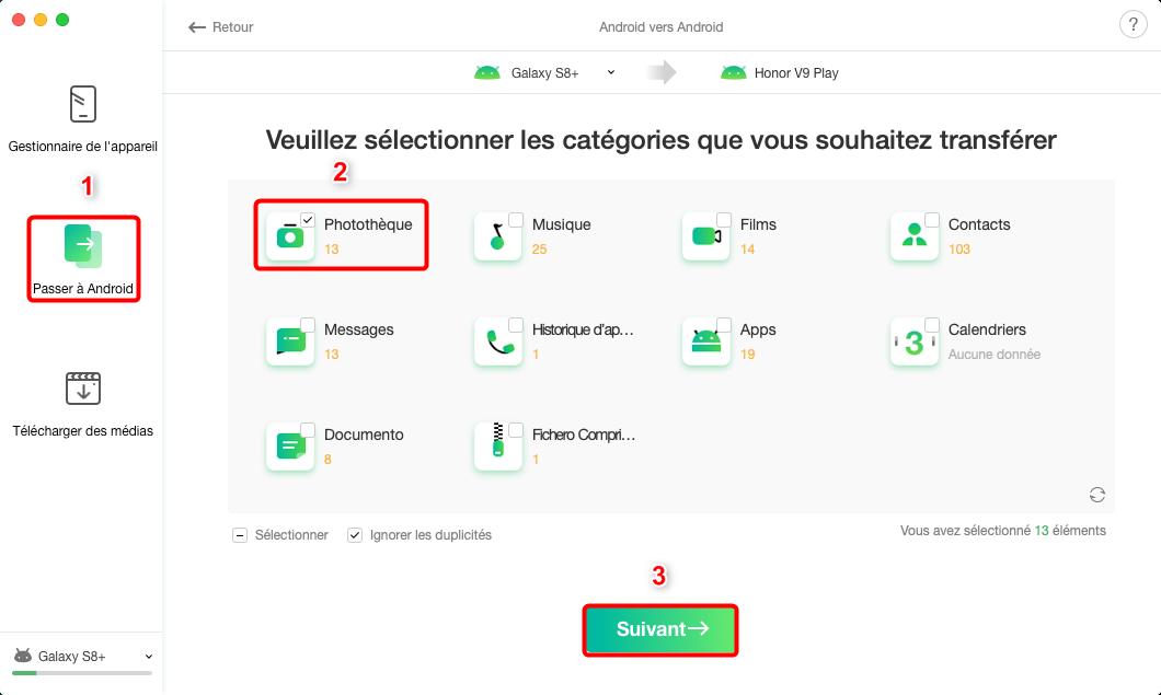 Comment transférer les fichiers depuis Samsung vers HUAWEI - étape 2