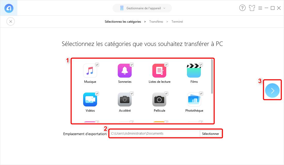 Sélectionnez les fichiers que vous souhaitez transférer - 2