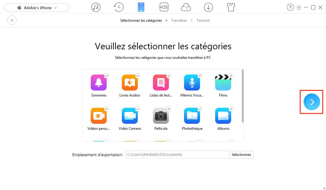 Moyen de transférer des fichiers de l'iPhone vers PC – étape 3