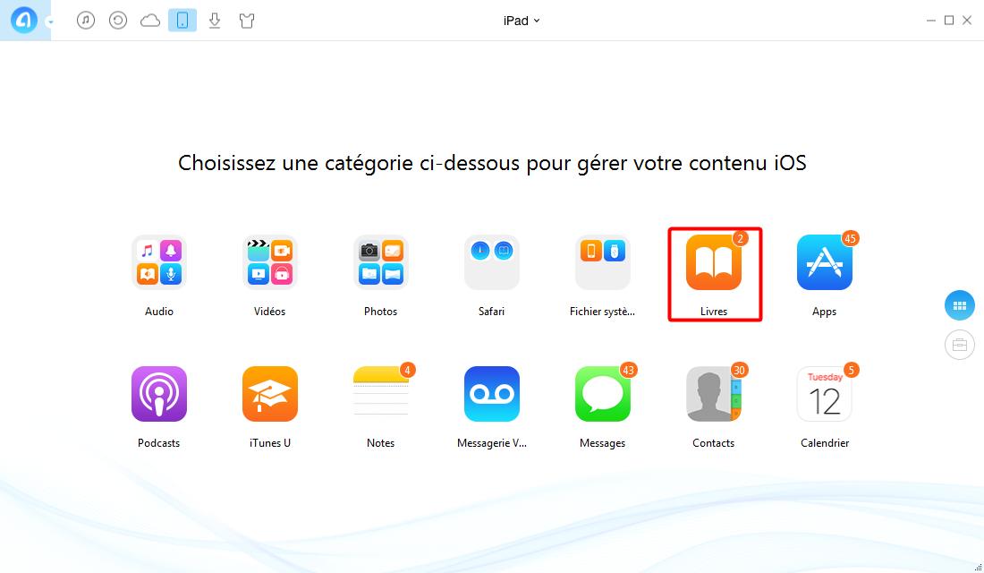 Synchroniser iBooks iPad vers iPhone – étape 1