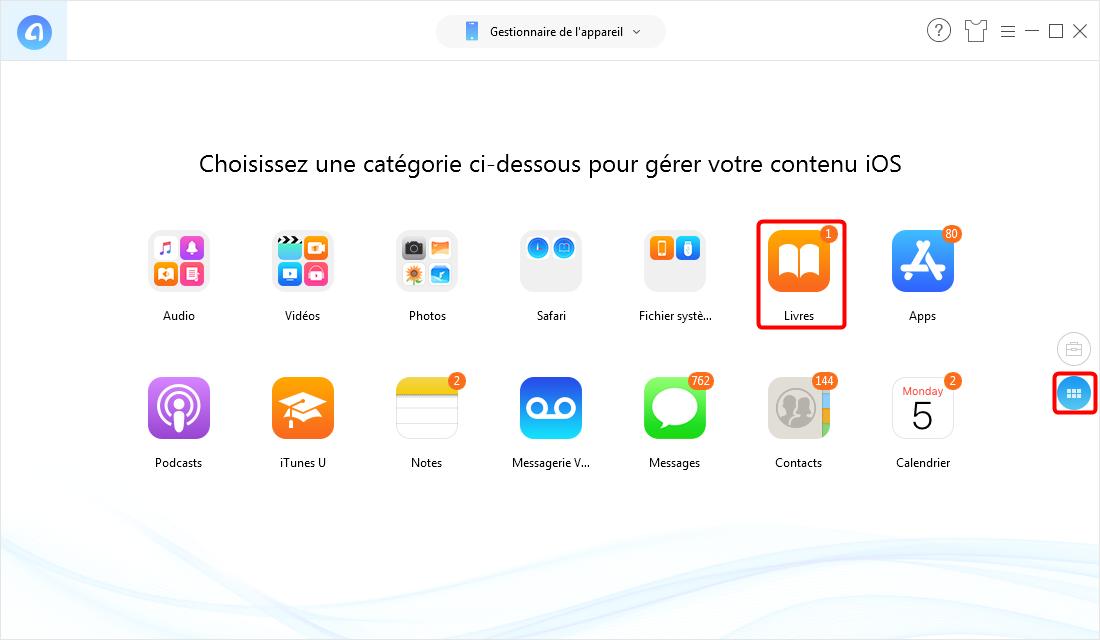 Exportation d'iBook depuis iPhone sur PC/Mac - étape 2