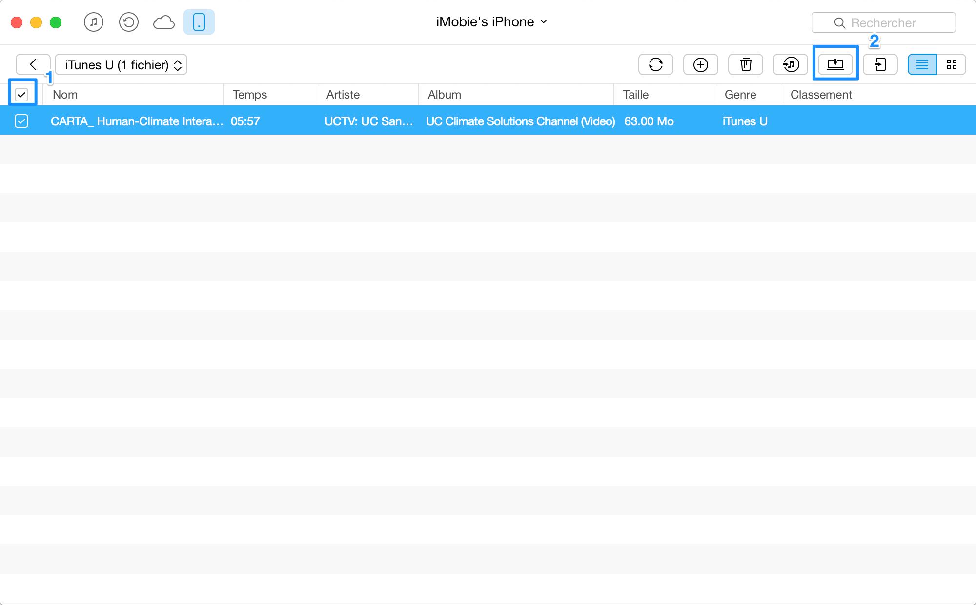 Transfert de iTunes U de l'iPhone à l'ordinateur - étape 3
